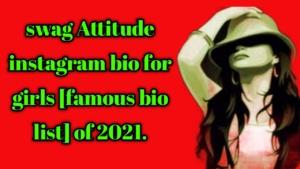 swag Attitude instagram bio for girls [famous bio list] of 2021.